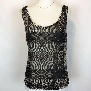 Alberto Makali black silk zebra print tank top